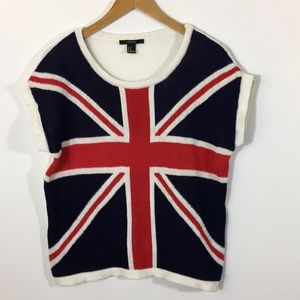 Union Jack UK Flag Sweater Top Size M British